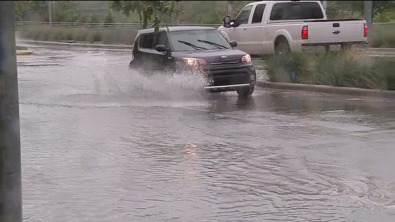 Storms cause sudden street flooding on Allen Parkway