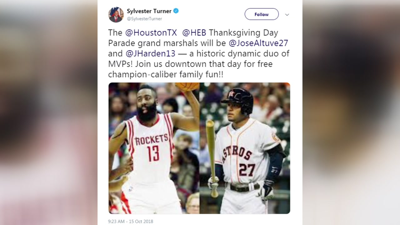 Mayor Turner announces James Harden and Jose Altuve will serve as grand marshals in Thanksgiving Parade
