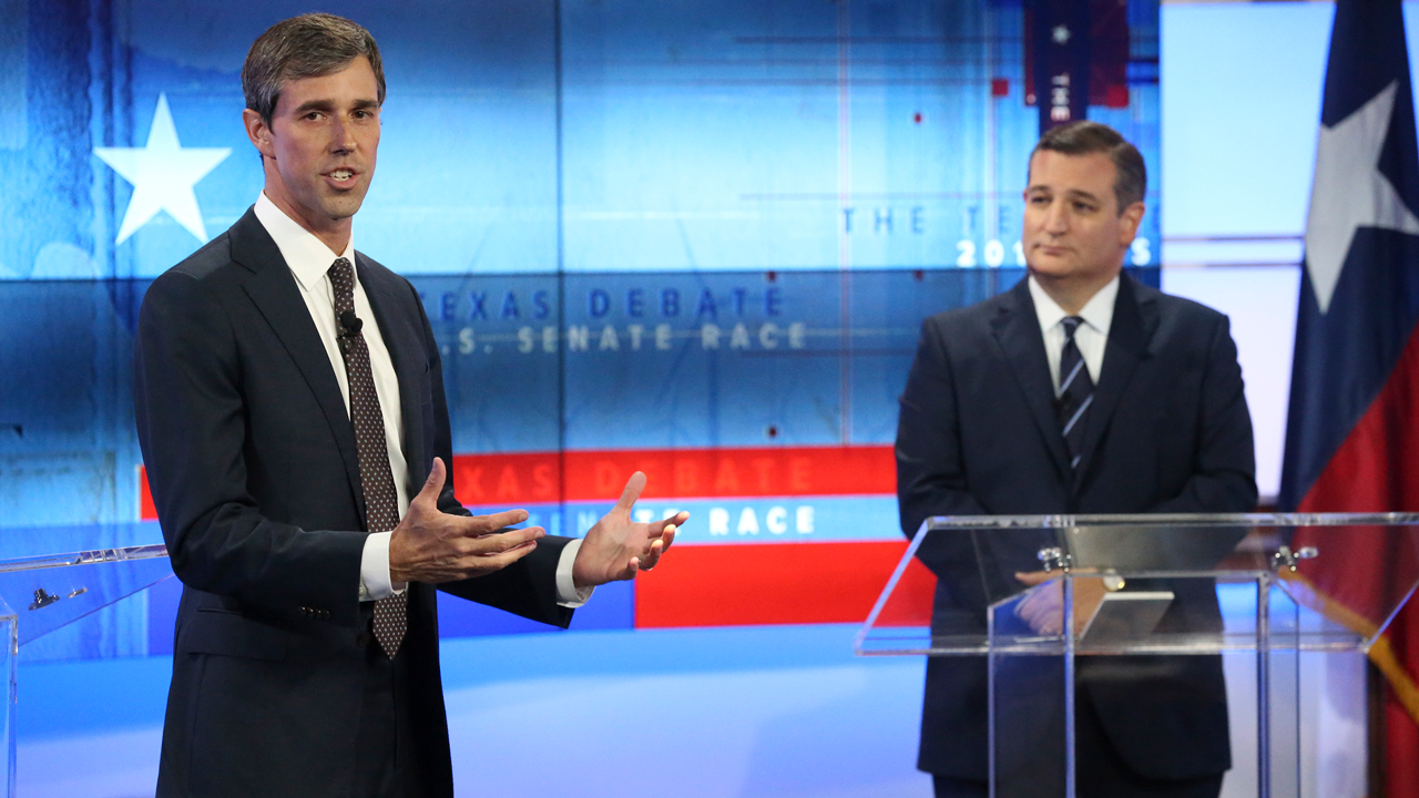 U.S. Rep. Beto ORourke, D-Texas, left, and U.S. Sen. Ted Cruz, R-Texas, right, take part in a debate for the Texas U.S. Senate, Tuesday, Oct. 16, 2018, in San Antonio.