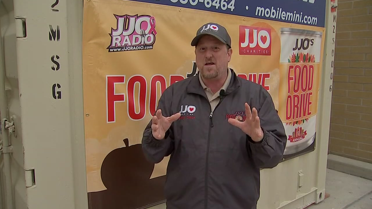 A former radio host is doing whatever it takes to collect food for those in need.