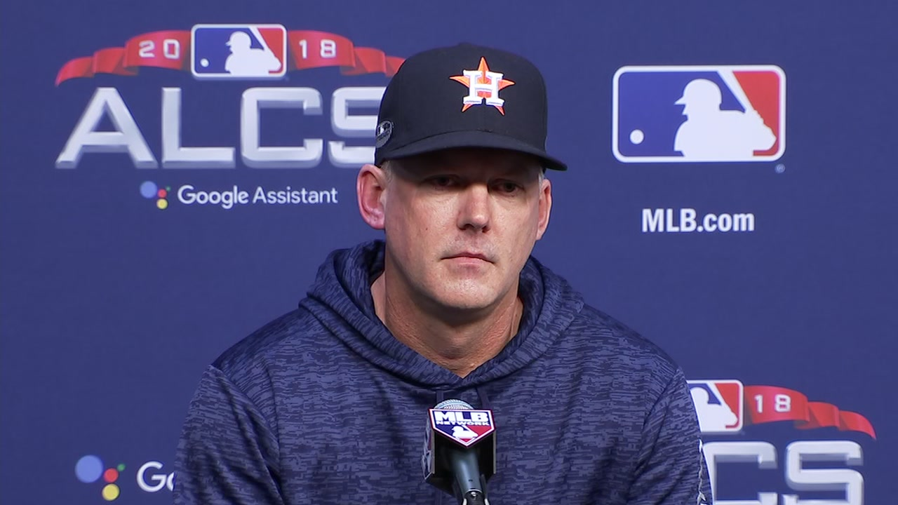 THEY OUTPLAYED US. Astros manager A.J. Hinch congratulates the Red Sox on advancing to the World Series.