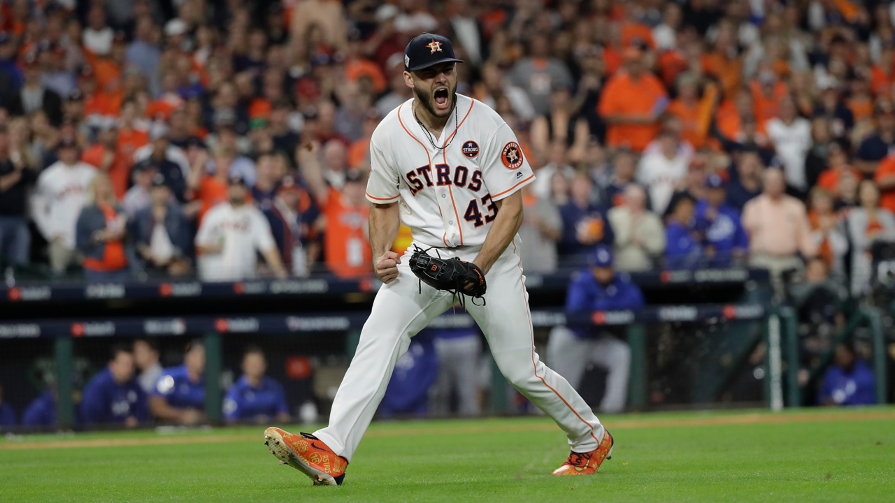 Houston Astros starting pitcher Lance McCullers Jr. reacts after getting Los Angeles Dodgers Justin Turner to ground out during the third inning of Game 3 of the World Series.