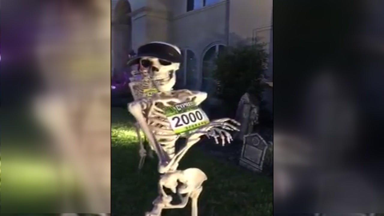 A Houston family is racing to have the best Halloween display.