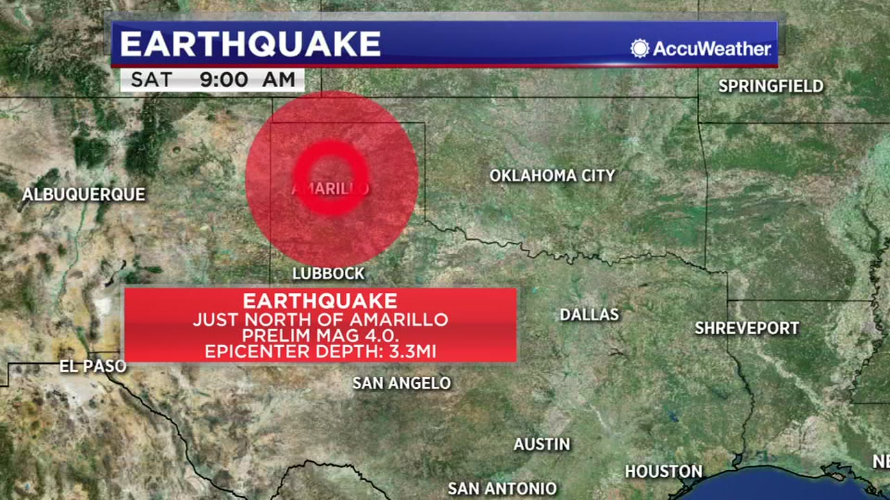 A 4.0 earthquake was reported in Amarillo around 8 a.m. Saturday.