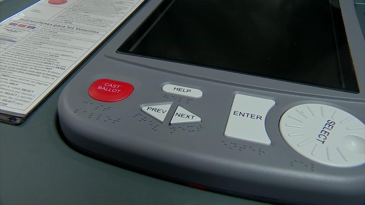 A voting machine sits inside the Fort Bend County Election office on Oct. 25, 2018.