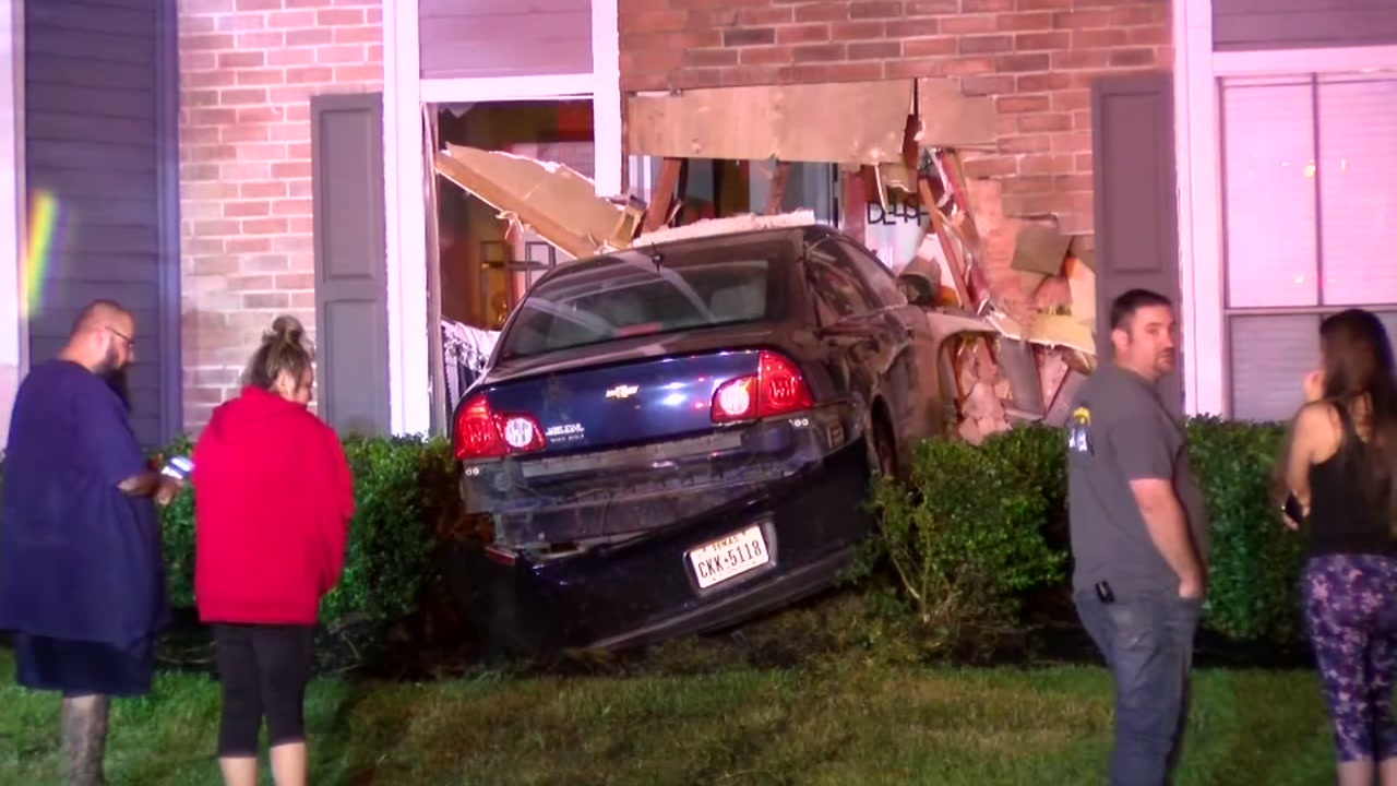 It was close call for man after a car crashed into the bedroom of his apartment.