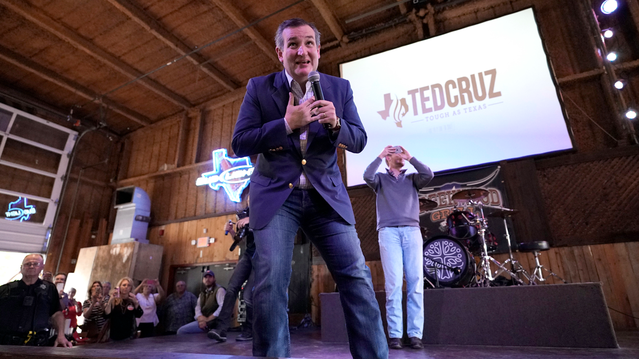 Sen. Ted Cruz, R-Texas, speaks during a campaign event Monday, Nov. 5, 2018, in Cypress, Texas. Cruz is being challenged by Democratic U.S. Representative Beto ORourke.
