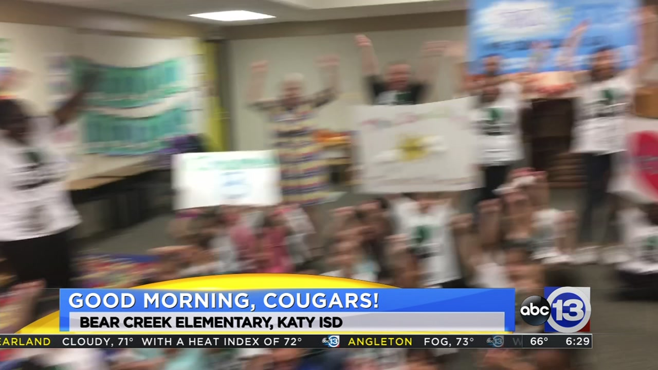 Meteorologist Travis Herzog visits the Bear Creek Cougars in Katy ISD