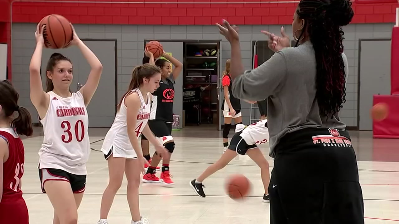 St. Pius X girls basketball paying it forward