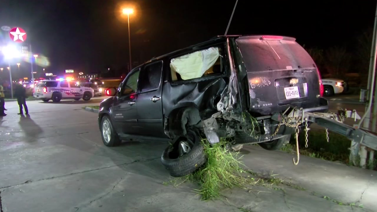 Carjacked vehicle crashes into family SUV during chase.