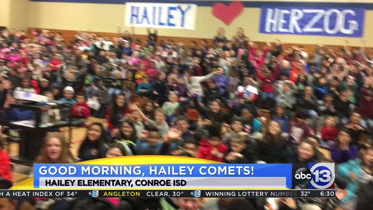 Meteorologist Travis Herzog visits the Hailey Comets in The Woodlands
