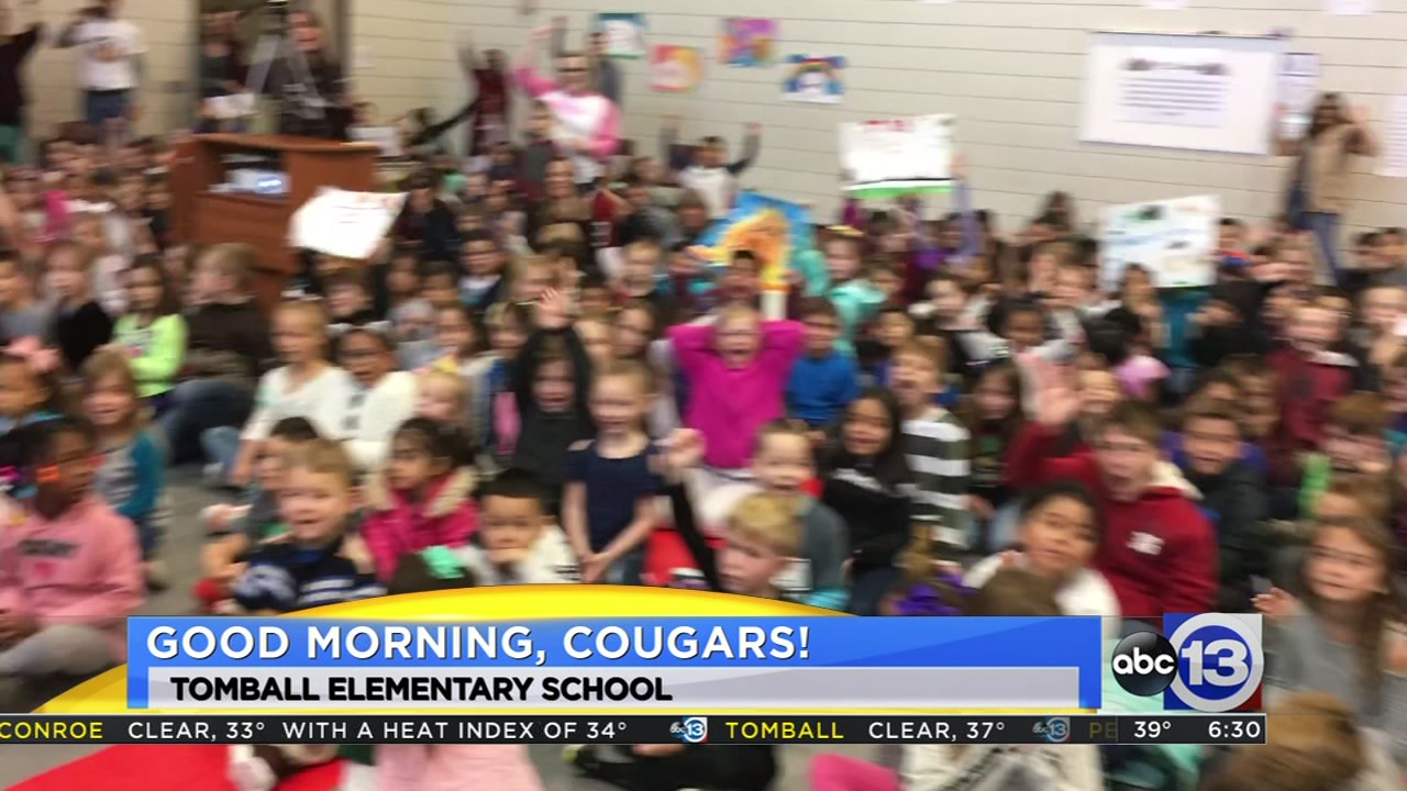 Meteorologist Travis Herzog visits the Tomball Cougars