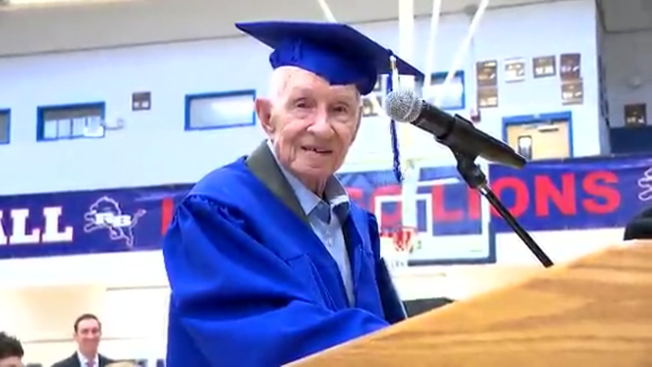 Sam Stansell receives diploma from Red Bank High School nearly 80 years after dropping out to join the Navy.