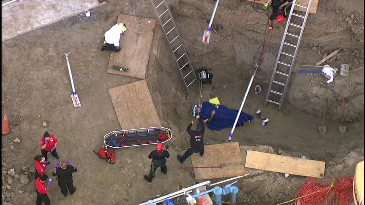 SkyEye video shows rescue of man trapped in trench in north Harris County.
