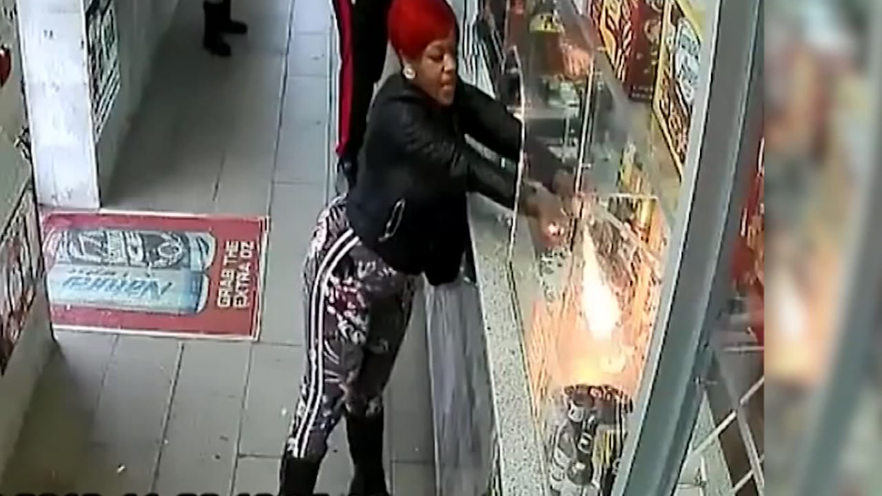 Police are looking for a woman who tried to set items in a store on fire with a hairspray blowtorch.