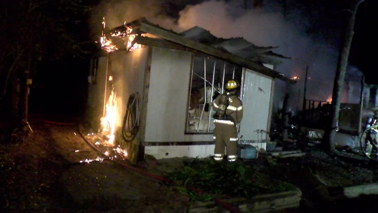 Fire engulfs mobile home