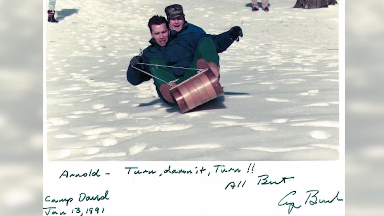 Arnold Schwarzenegger tells the story of sledding with Pres. George H.W. Bush and then crashing into Barbara Bush.