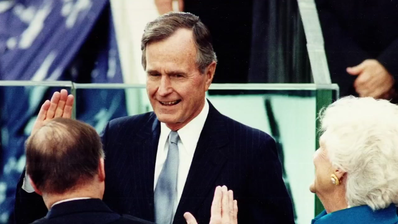 George H.W. Bush was sworn in on the steps of the Capitol as the 41st President of the United States in 1989