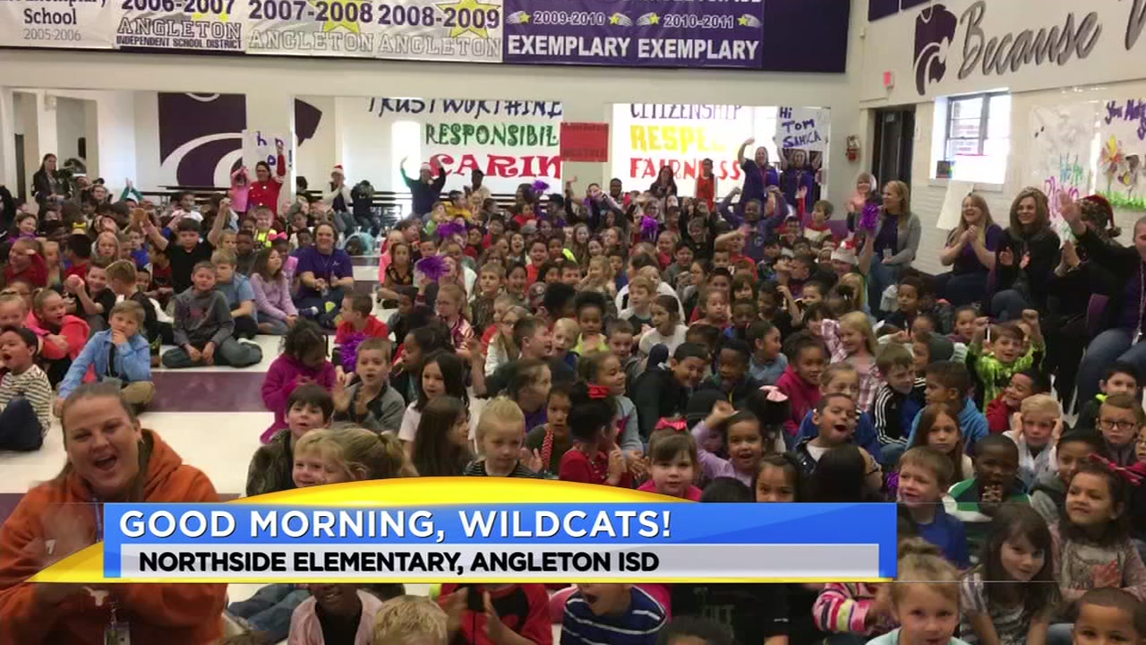 Meteorologist Travis Herzog visits the Angleton Wildcats of Northside Elementary
