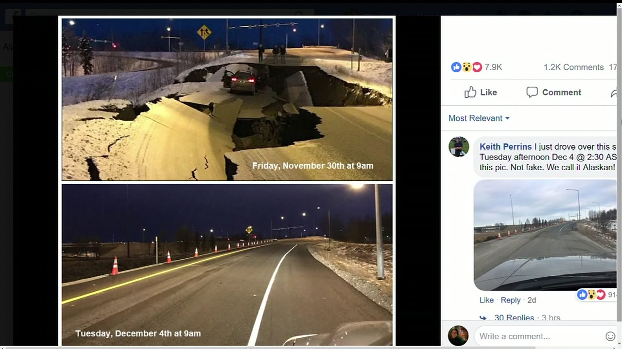 People are shocked at how quick crews were able to fix a road that collapsed during the quake in Alaska.