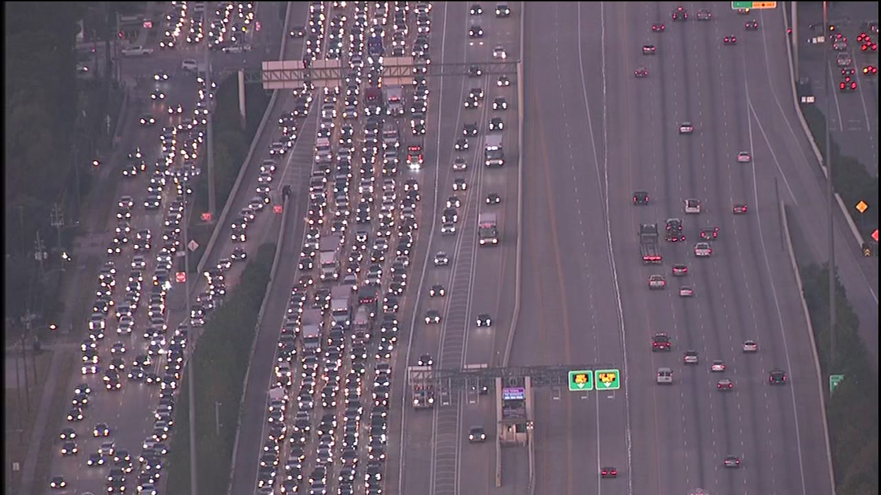 Katy freeway traffic tie up