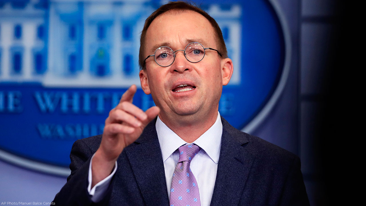 Office of Management and Budget Director Mick Mulvaney talks to reporters in the Brady press briefing room at the White House in Washington, Thursday, March 22, 2018.