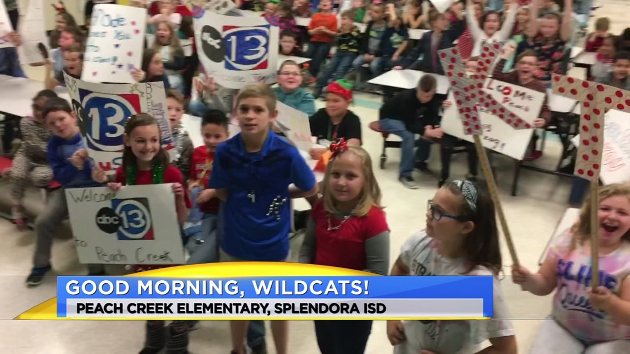 Meteorologist Travis Herzog visits Peach Creek Elementary in Splendora