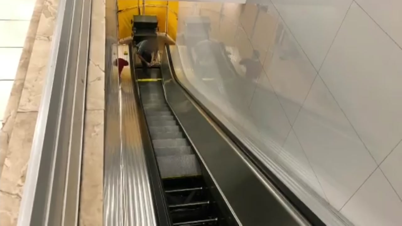 Child gets foot stuck in escalator at Macys