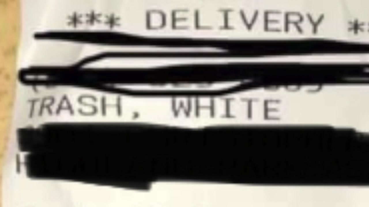 Customer called White Trash on pizza receipt