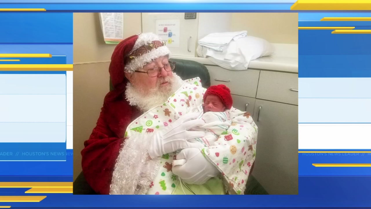 Santa takes pictures with NICU babies at Memorial Hermann