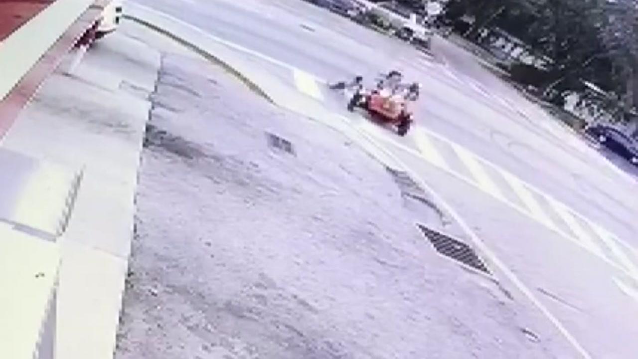 Toddler injured after crashing fathers motorcycle