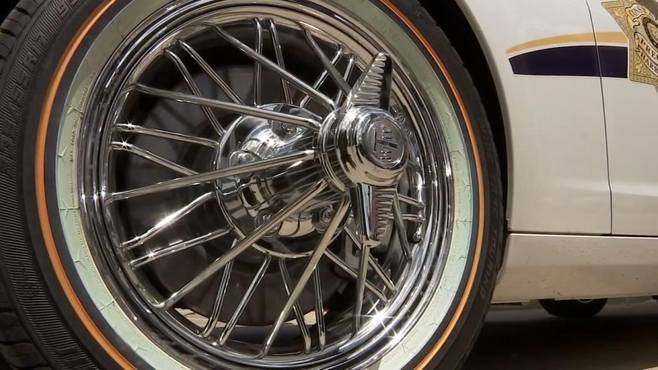 patrol car gets tricked out rims for community event