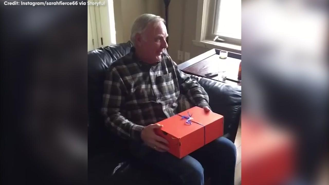 Dad Reacts To A Special Birthday Gift