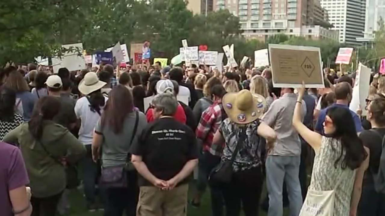 Love Trumps Hate rally held at Discovery Green in Houston