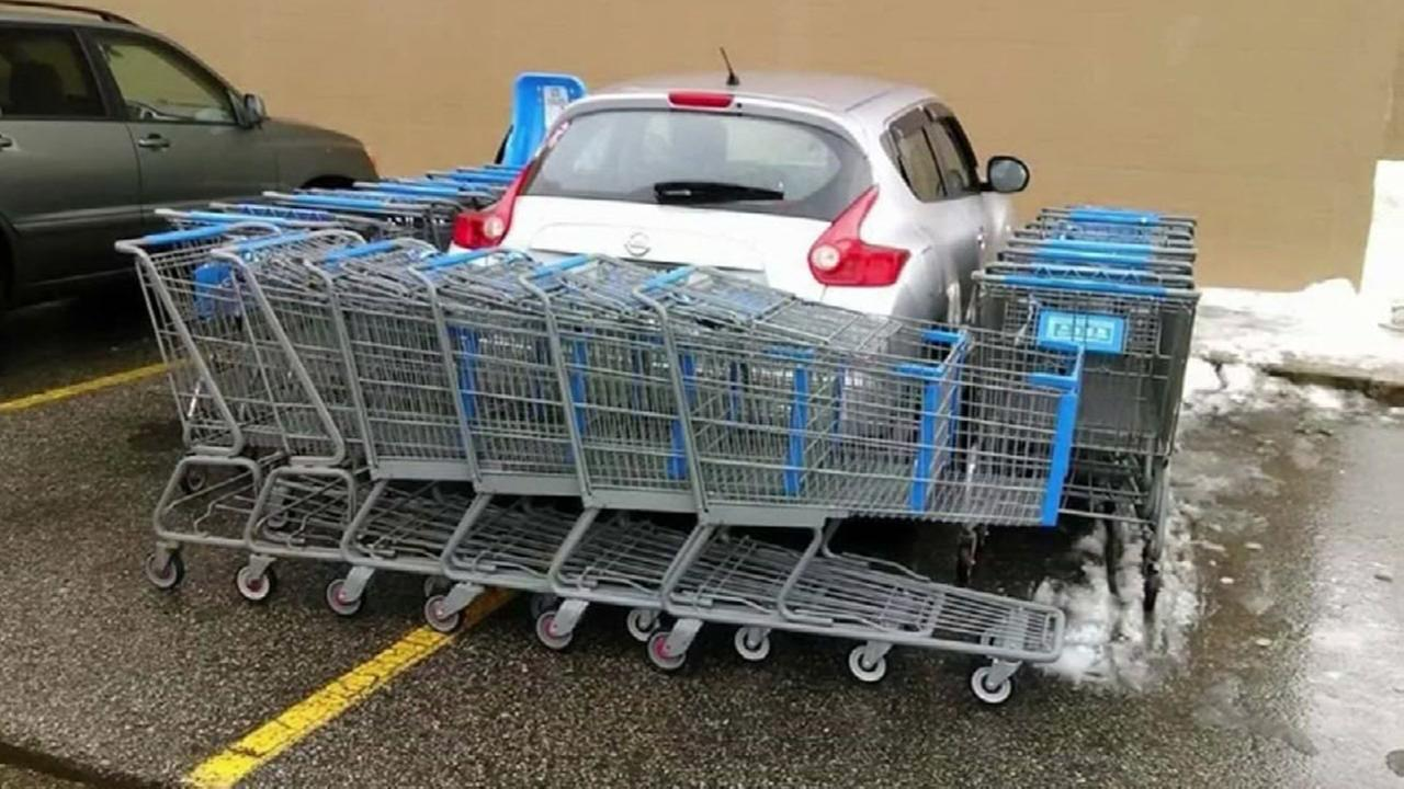 Bad parker in Maine gets blocked in by shopping carts | abc13.com