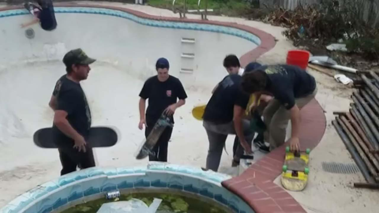 Homeowner catches group using his pool as a skate park