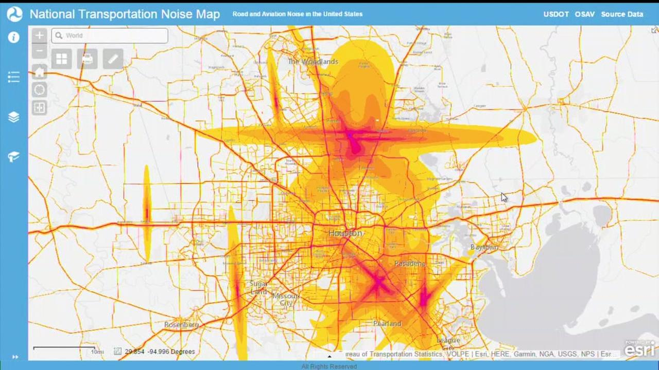 Map shows road and aviation noise in the Houston area ...