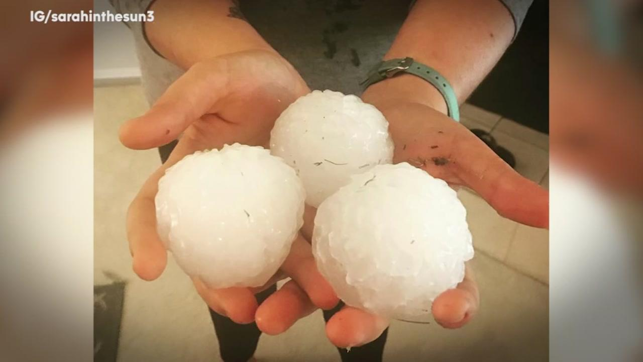 Powerful winds, large hail hit Southern Plains