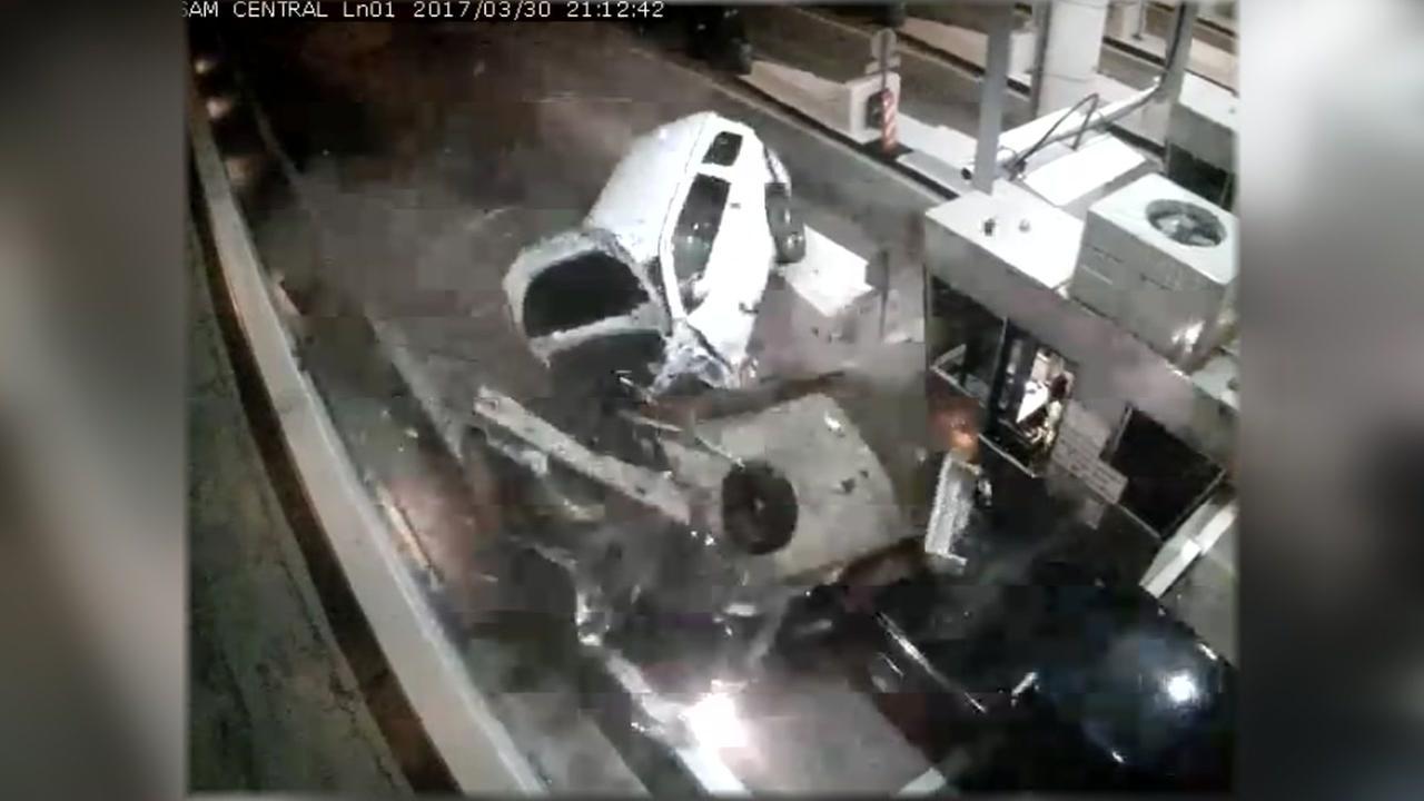 Raw video: Toll booth crash