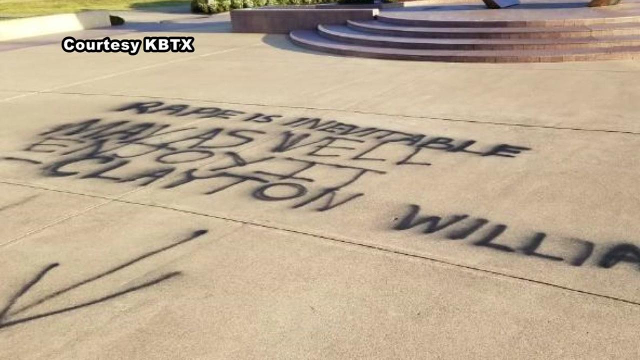 Vandalism at Aggie Ring Plaza references rape