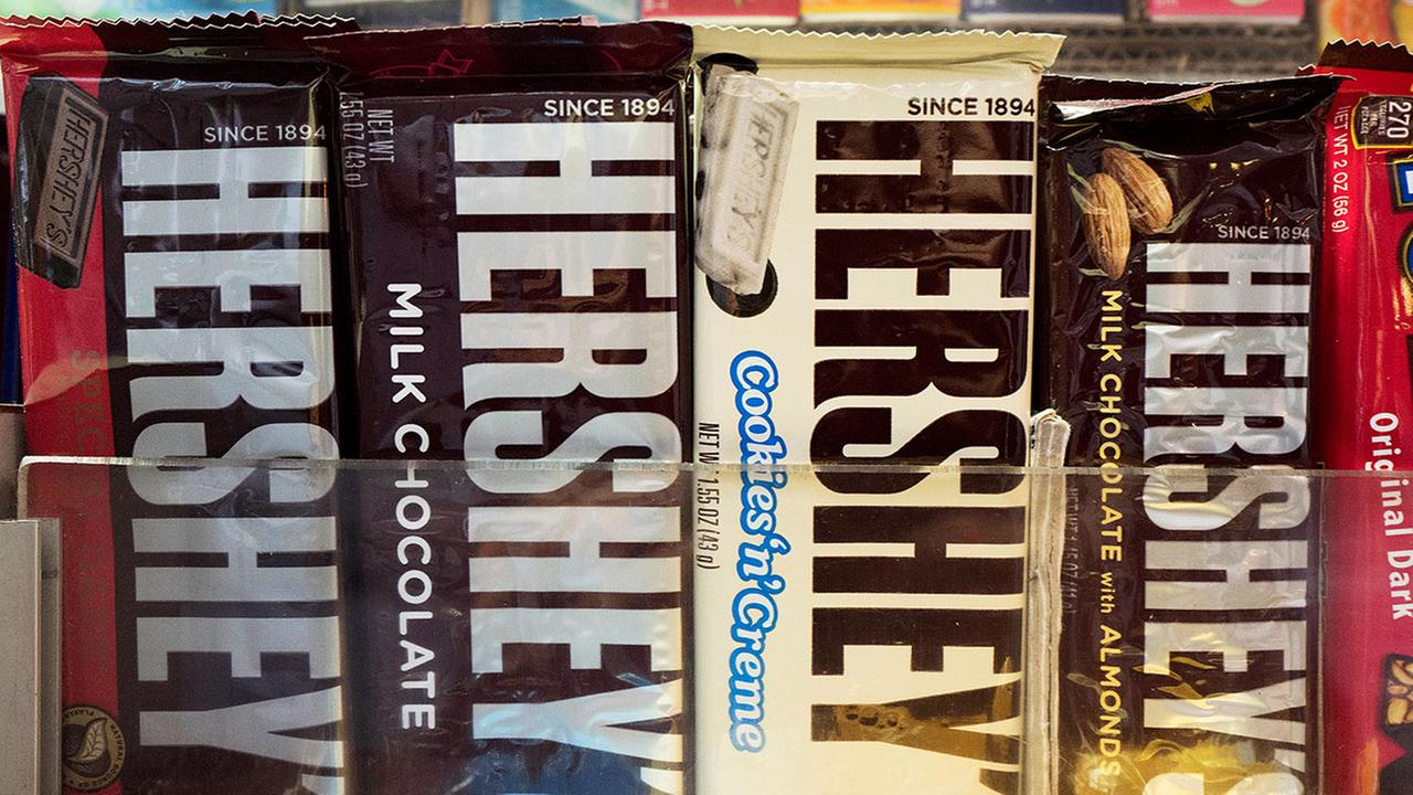 Hersheys chocolate bars are displayed on a newsstand, in New York.