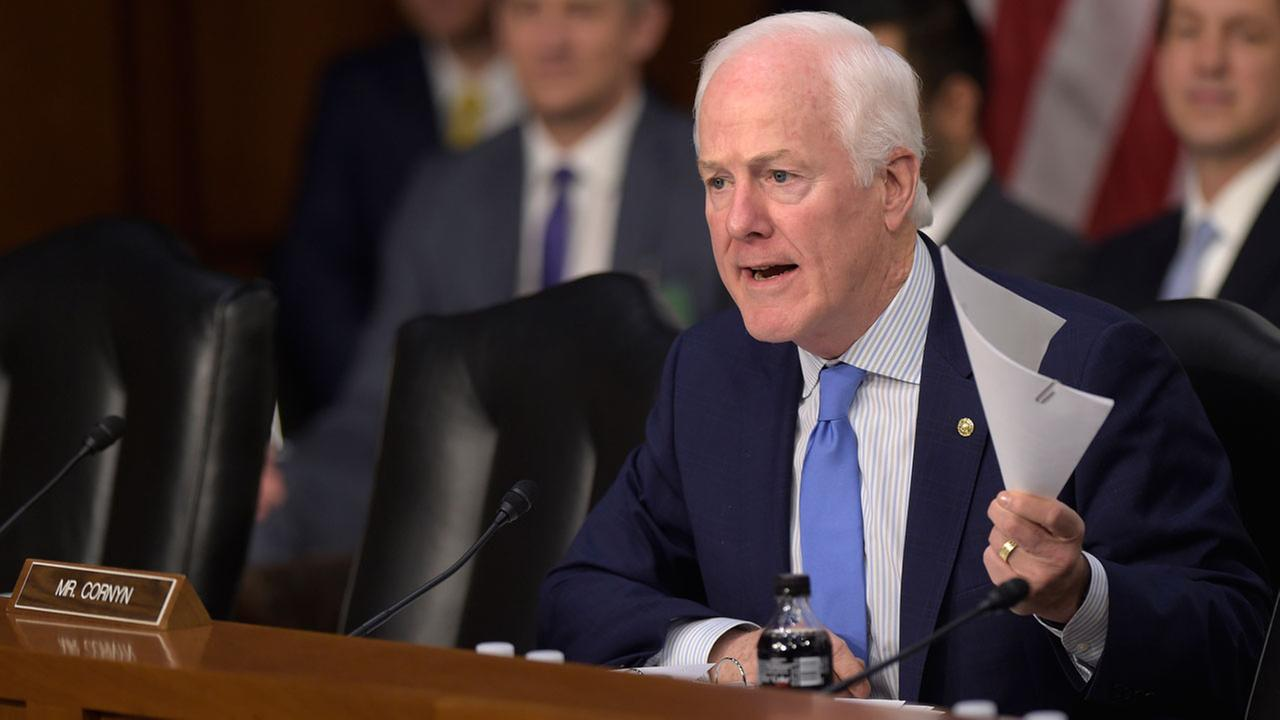 Senate Judiciary Committee member Sen. John Cornyn, R-Texas questions Supreme Court Justice nominee Neil Gorsuch on Capitol Hill in Washington, Tuesday, March 21, 2017.