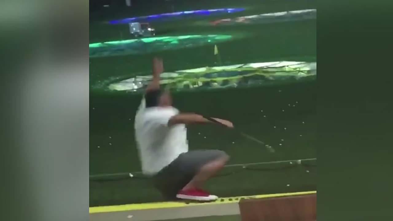 Going, going, gone! Man falls off platform at Top Golf