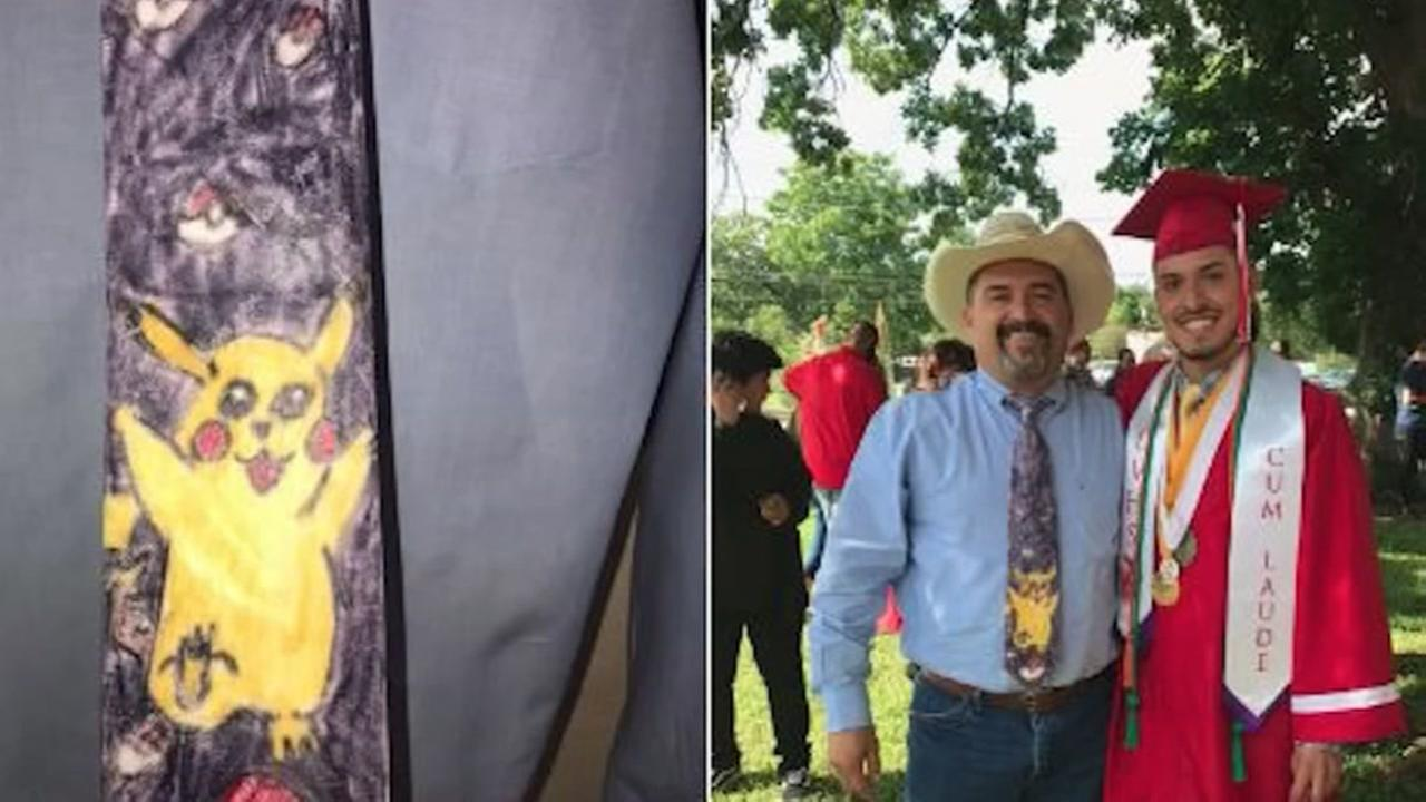 Texas dad wears special Pokemon tie to sons graduation