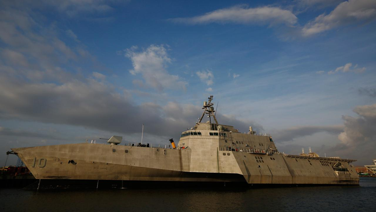 The USS Gabrielle Giffords, a Naval littoral combat ship built at the Austal USA shipyards, docked on the Mobile River in Mobile, Ala.