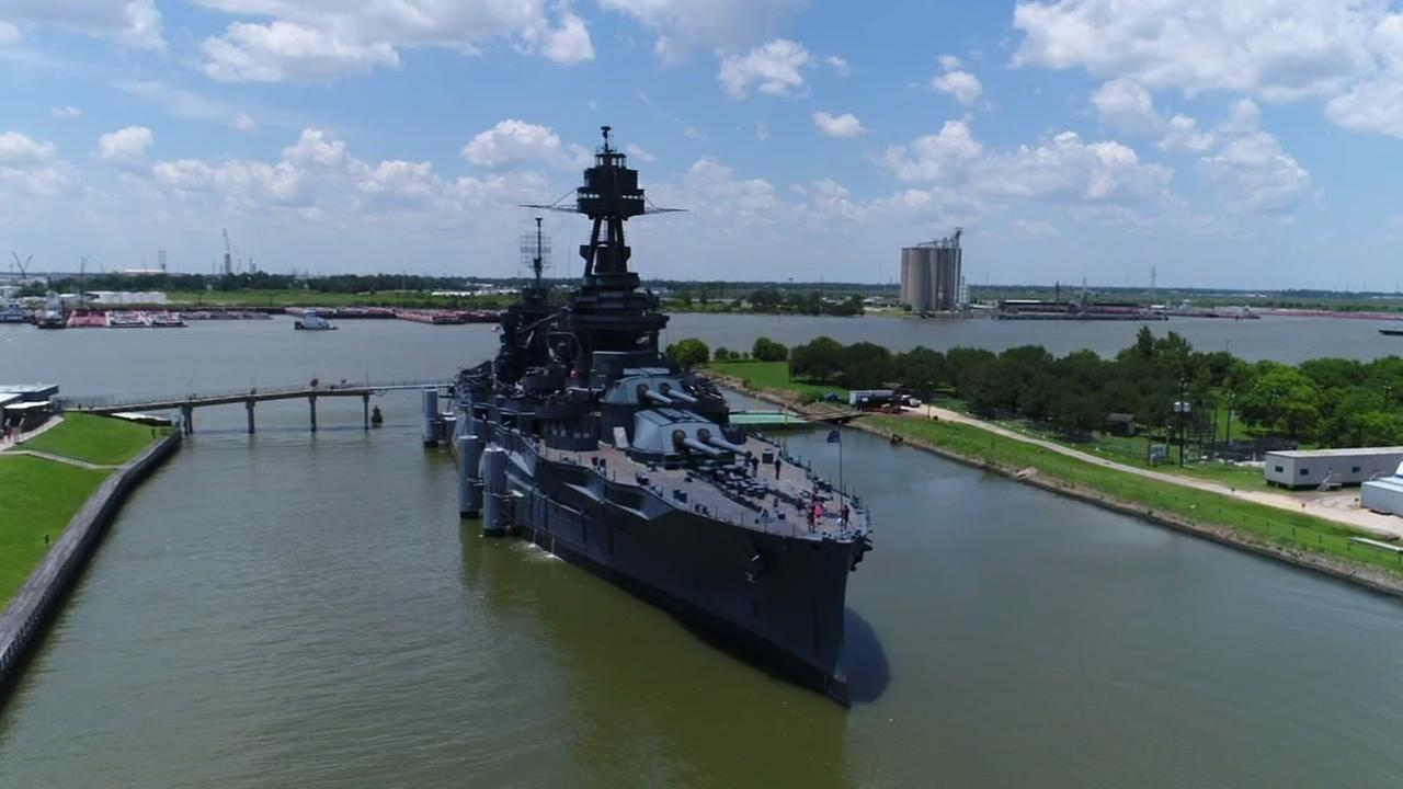Drone video over Battleship Texas