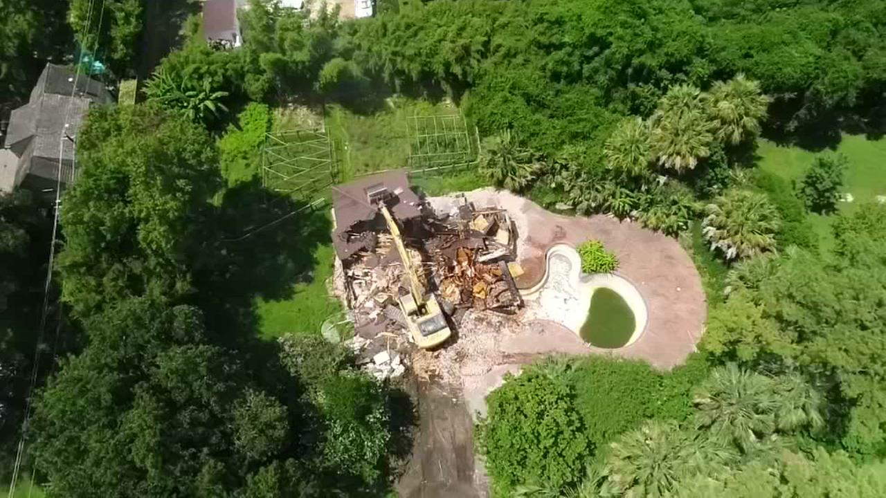 SkyDrone13 over mansion demolition
