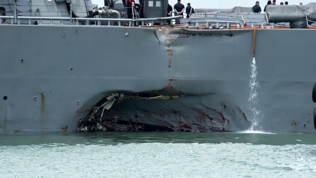 Navy official confirms some remains found after USS McCain collision