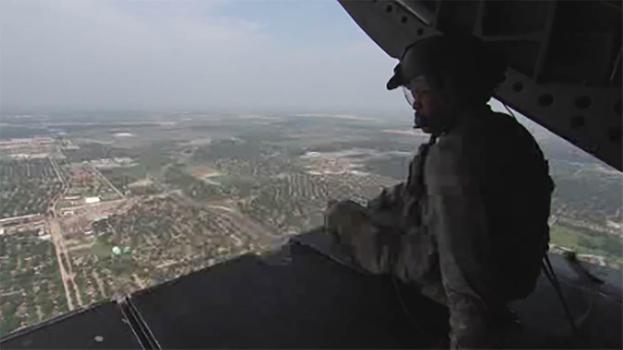 Army helicopter delivers supplies to Harvey-ravaged counties