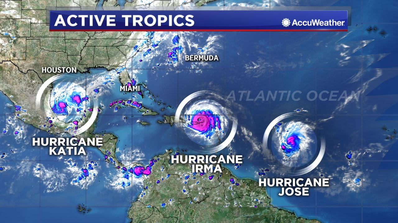 Besides Irma, hurricanes Jose and Katia also forming in Atlantic region